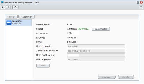 IPVanish PPTP connexion Syno