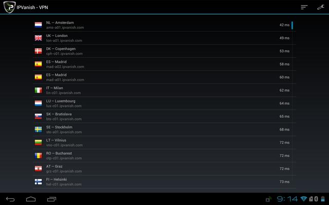 IPVanish app servers
