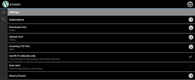 utorrent app options wifi