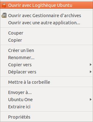 Ouvrir avec logithèque ubuntu