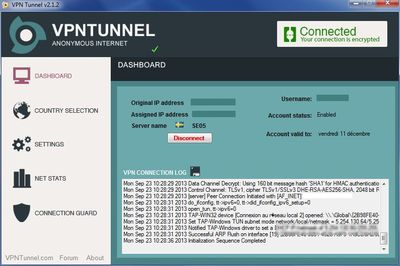 vpntunnel dashboard