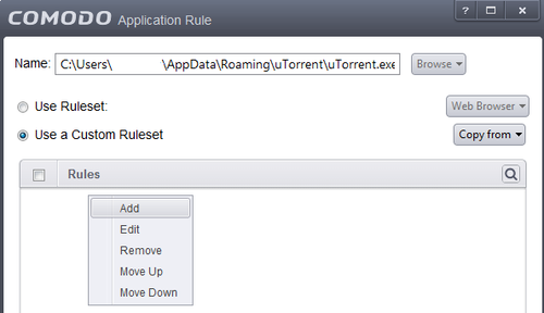 Comodo Application Rule uTorrent