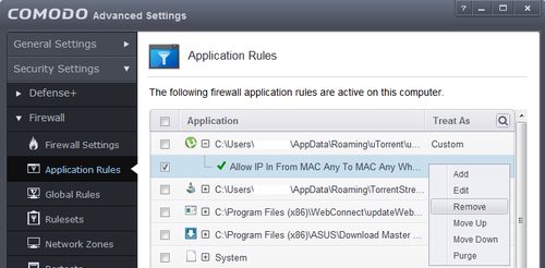 Comodo Application Rules