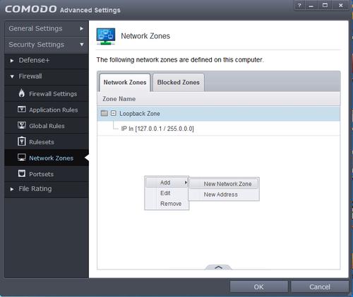 Comodo Network Zones