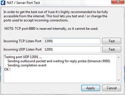 Vuze NAT - Server Port Test