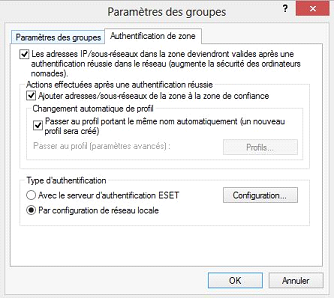Eset Authentification de zone