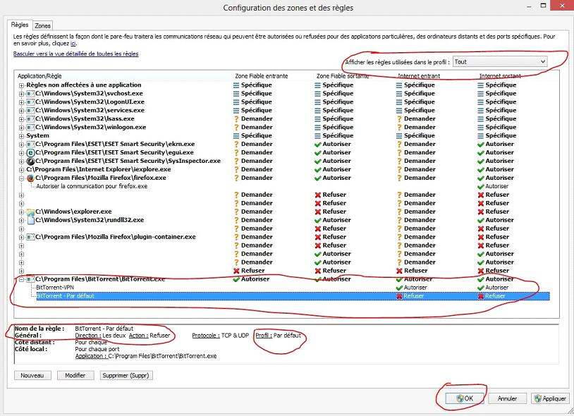 Eset profil bitorrent par défaut