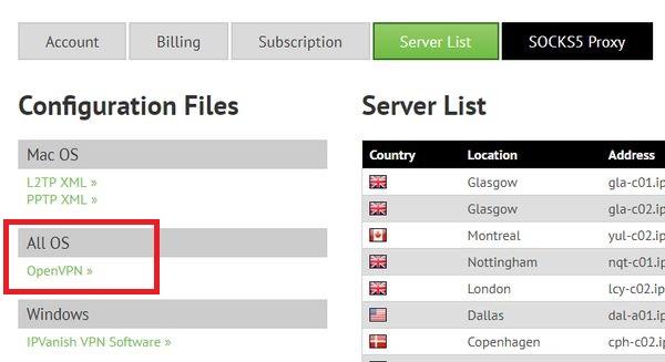 IPVanish sur Freebox Server (Client VPN) 1