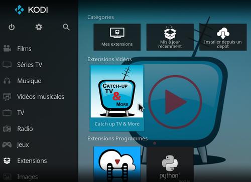 Catch-Up TV & More sur Kodi 16