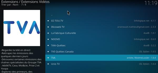 Dépôt Québec sur Kodi Media Center 5